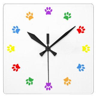 Paw print dog, pet, cat colorful fun wall clock