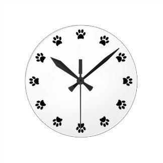 Paw print dog, pet, cat fun wall clock