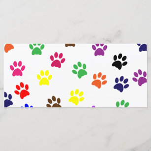 Paw print dog pet colorful fun bookmark