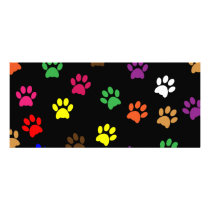 Paw print dog pet colorful fun bookmark rack card
