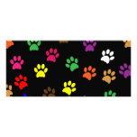 Paw print dog pet colorful fun bookmark personalized rack card