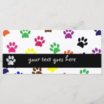 Paw print dog pet colorful fun custom bookmark