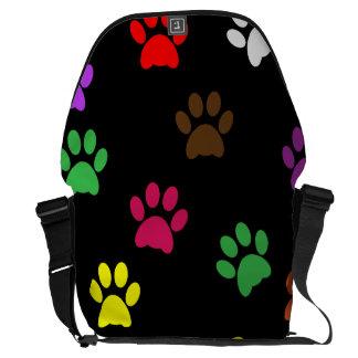 Paw print dog pet colorful fun cute messenger bag