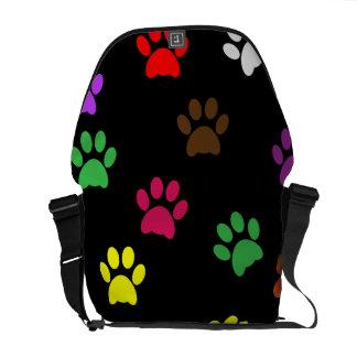 Paw print dog pet colorful fun messenger bag