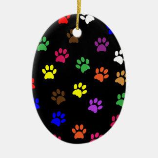Paw print dog pet colorful fun oval ornament