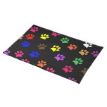 Paw print dog pet colorful fun placemat cloth place mat