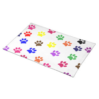 Paw print dog pet colorful fun placemat cloth placemat