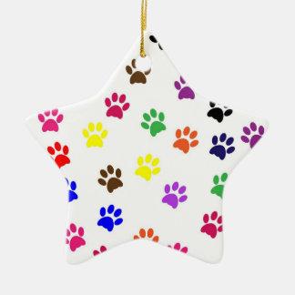 Paw print dog pet colorful fun star ornament