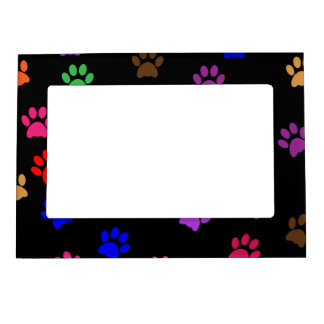 Paw print dog pet colorful pattern background picture frame magnet