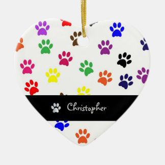 Paw print dog pet custom boys name heart ornament