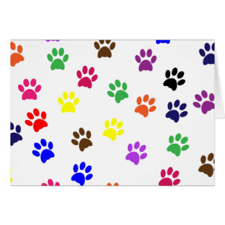 Paw print dog pet fun colorful blank note card