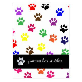 Paw print dog pet fun colorful custom postcard
