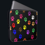 "Paw print dog pet fun colorful laptop bag<br><div class=""desc"">Colorful pet dog or cat fun paw prints design laptop bag.  great gift idea for dog lovers</div>"