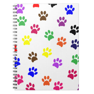 Paw print dog pet fun colorful notebook