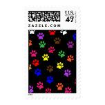 Paw print dog pet fun colorful postage stamp