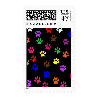 Paw print dog pet fun colorful postage stamp