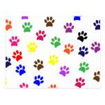Paw print dog pet fun colorful postcard