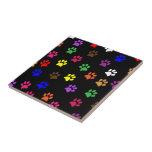 "Paw print dog pet fun colorful tile or trivet<br><div class=""desc"">Colorful pet dog or cat paw prints pawprints tile or trivet. great gift idea for dog lovers</div>"