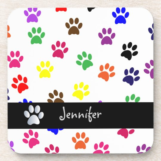 Paw print dog pet fun custom girls name coaster