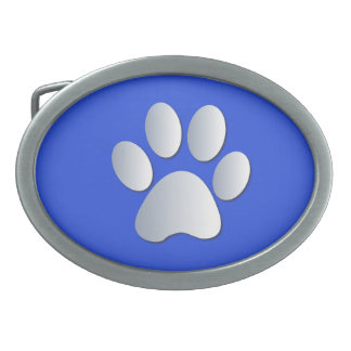 Paw Print dog pet silver and blue belt buckle