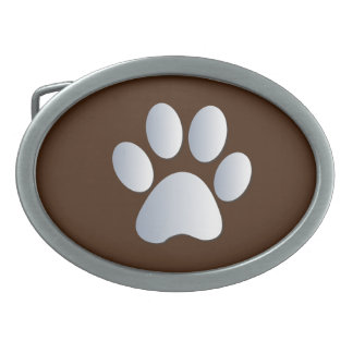 Paw Print dog pet silver and brown belt buckle
