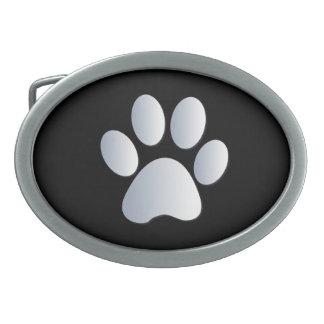 Paw Print dog pet silver black pattern belt buckle