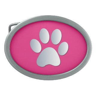 Paw Print dog pet silver pink pattern belt buckle