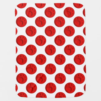 Paw Print Dot - Red Swaddle Blanket