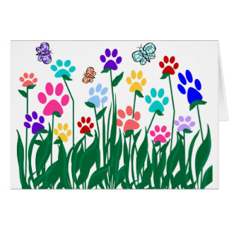 Paw print flower garden Mass Production Card