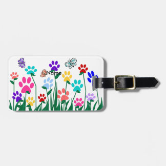 Paw print flower garden Mass Production Luggage Tag