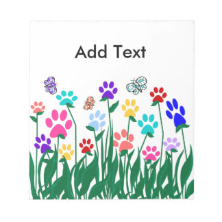 Paw print flower garden Mass Production Notepad