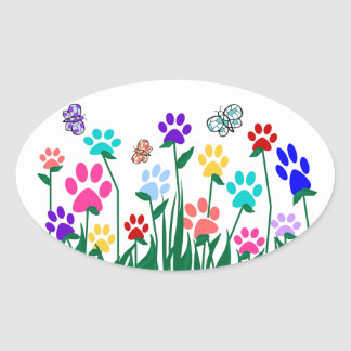 Paw print flower garden Mass Production Oval Sticker