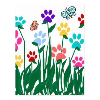 Paw print flower garden Mass Production Postcard