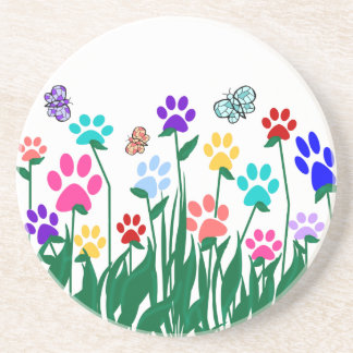 Paw print flower garden Mass Production Sandstone Coaster