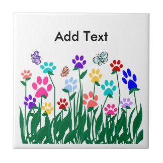 Paw print flower garden Mass Production Tile