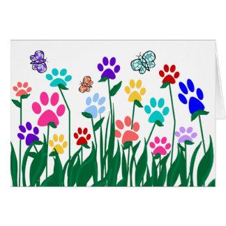 Paw print garden blank card