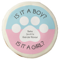 Paw Print Gender Reveal Sugar Cookie