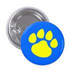 Paw Print Gold on Blue Pinback Button