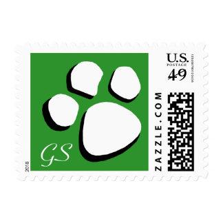 Paw Print Green Monogram Postage Stamps