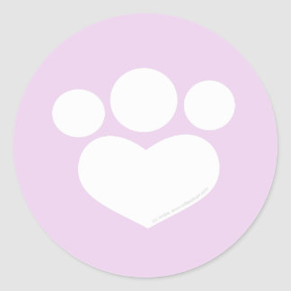 Paw Print Heart 3 inch Thistle Classic Round Sticker