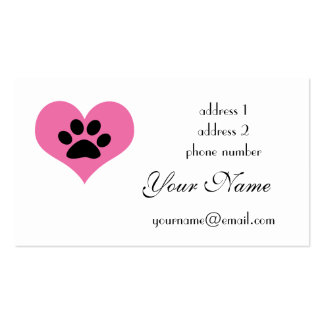 paw print heart business cards