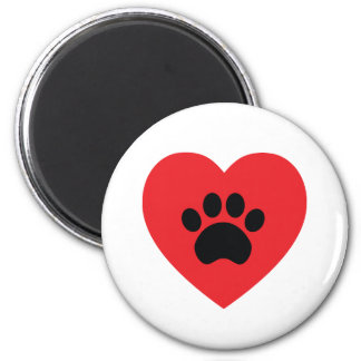 Paw Print Heart Magnet