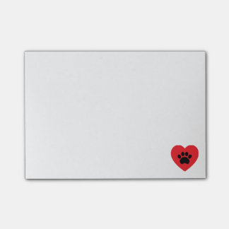 Paw Print Heart Post-it Notes