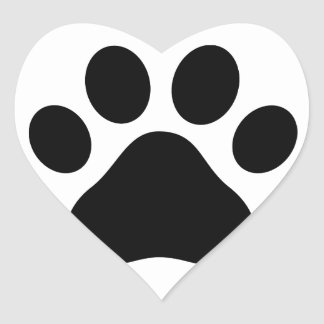 Paw print heart sticker