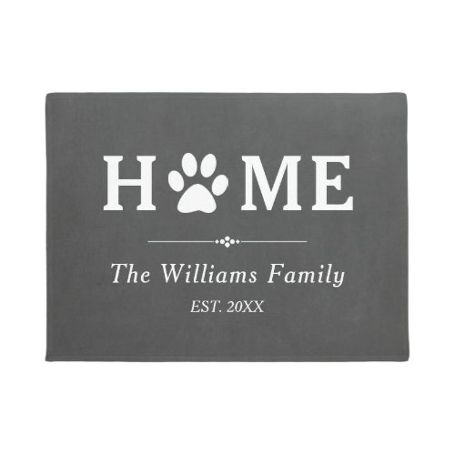 Paw Print Home _ Chalkboard _ Family Name Doormat