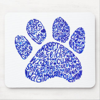 Paw Print in Blue Text - Thoughts about Dogs Mouse Pad