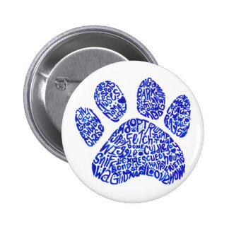 Paw Print in Blue Text - Thoughts about Dogs Pinback Button