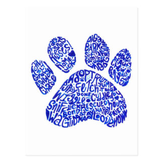 Paw Print in Blue Text - Thoughts about Dogs Postcard