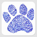 Paw Print in Blue Text - Thoughts about Dogs Sticker