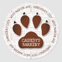 Paw Print in Brown with Business Name and Woof Art Classic Round Sticker